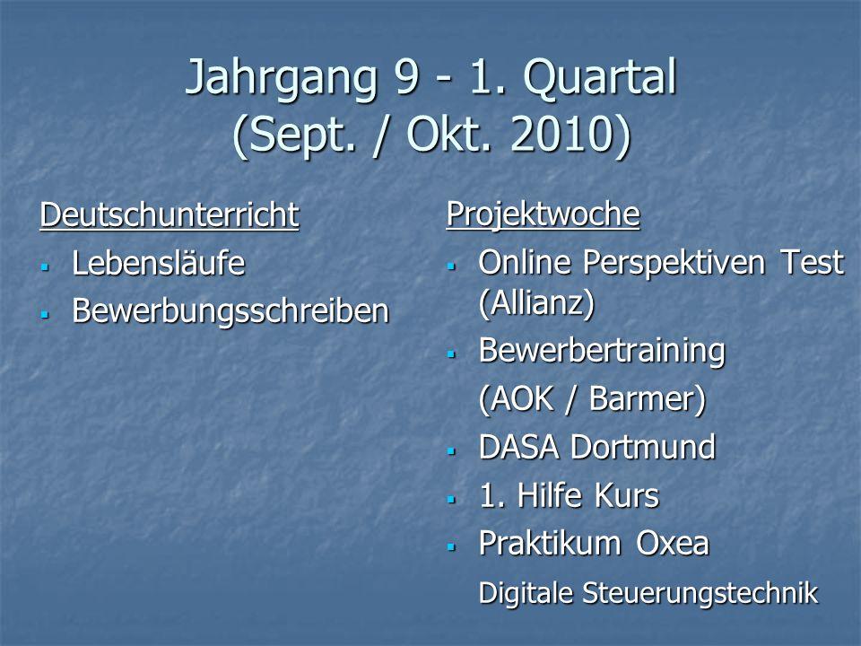 Jahrgang 9 - 1. Quartal (Sept. / Okt. 2010) Deutschunterricht Lebensläufe Lebensläufe Bewerbungsschreiben Bewerbungsschreiben Projektwoche Online Pers