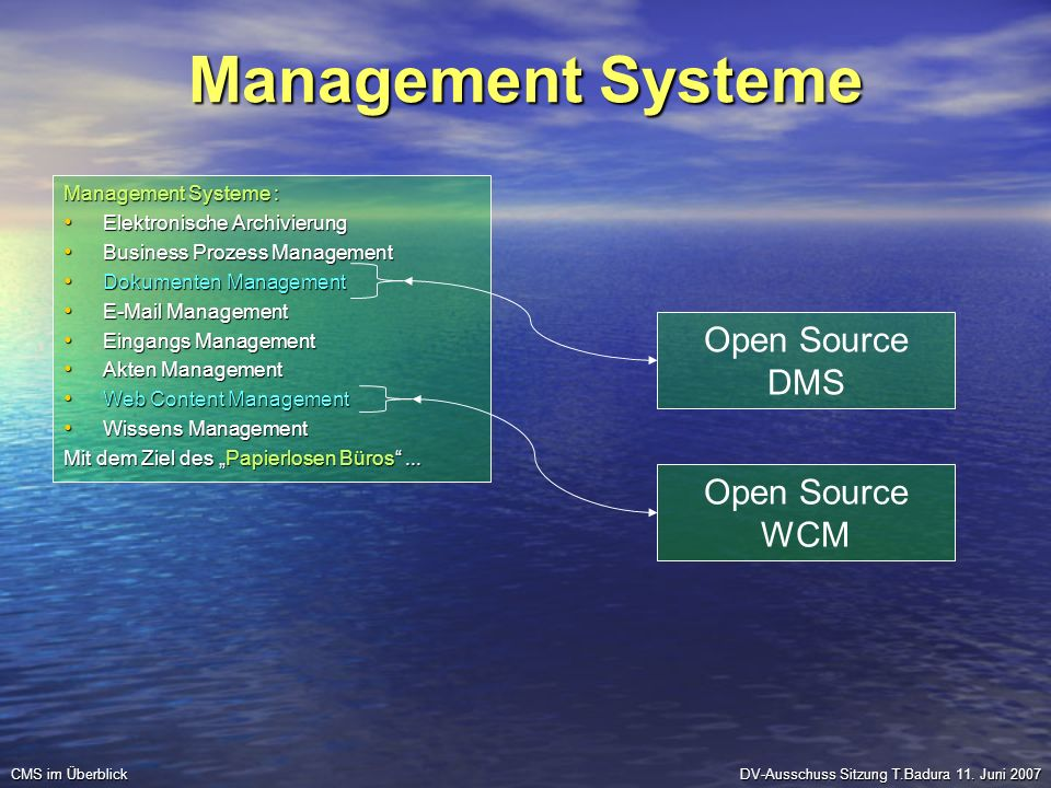 Management Systeme Management Systeme : Elektronische Archivierung Elektronische Archivierung Business Prozess Management Business Prozess Management Dokumenten Management Dokumenten Management E-Mail Management E-Mail Management Eingangs Management Eingangs Management Akten Management Akten Management Web Content Management Web Content Management Wissens Management Wissens Management Mit dem Ziel des Papierlosen Büros...
