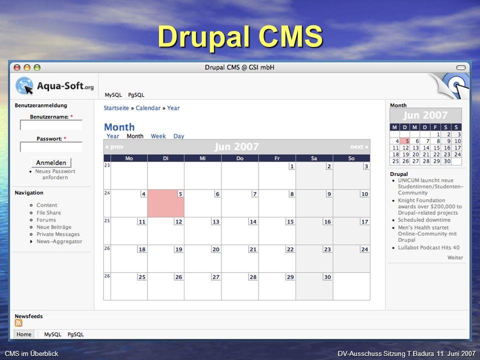 Drupal CMS DV-Ausschuss Sitzung T.Badura 11. Juni 2007 CMS im Überblick