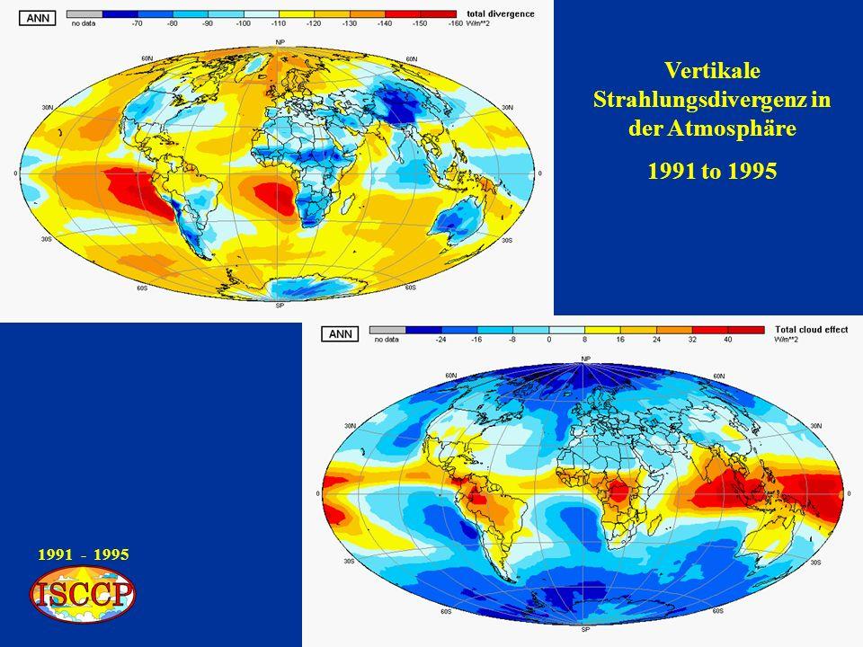 1991 - 1995 Vertikale Strahlungsdivergenz in der Atmosphäre 1991 to 1995