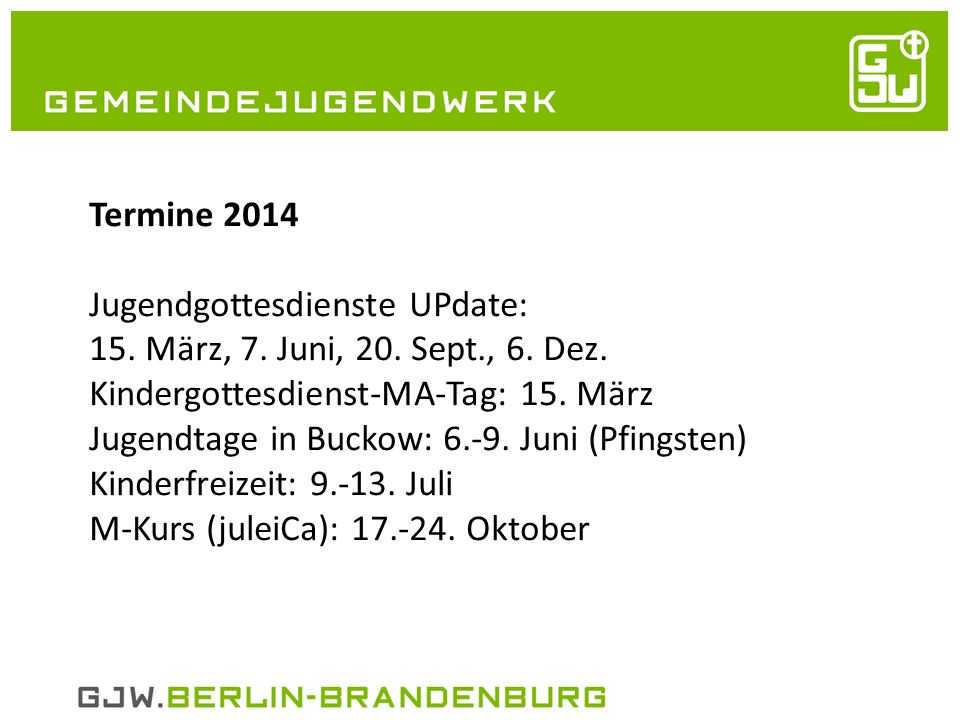 21.05.2014 Unser BUJU – 1.bis 4.