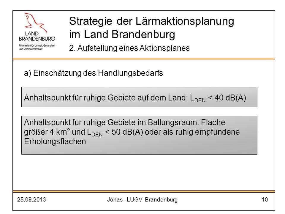 25.09.2013Jonas - LUGV Brandenburg10 Strategie der Lärmaktionsplanung im Land Brandenburg 2. Aufstellung eines Aktionsplanes a) Einschätzung des Handl