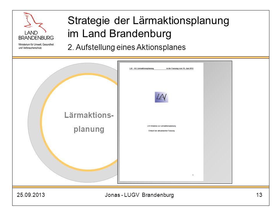 25.09.2013Jonas - LUGV Brandenburg13 Strategie der Lärmaktionsplanung im Land Brandenburg 2. Aufstellung eines Aktionsplanes Lärmaktions- planung