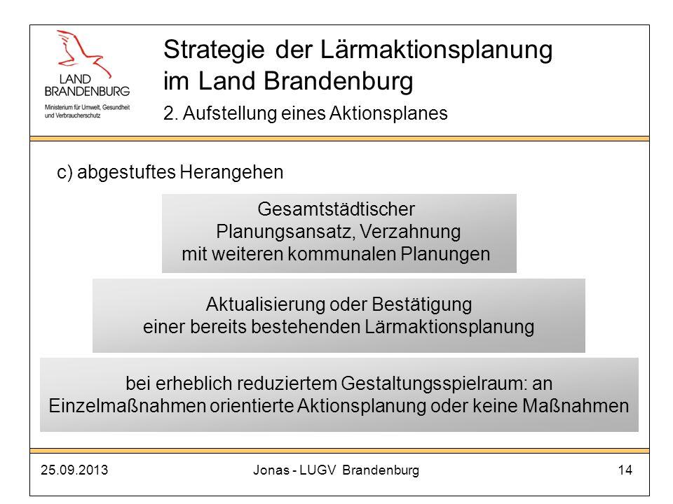 25.09.2013Jonas - LUGV Brandenburg14 Strategie der Lärmaktionsplanung im Land Brandenburg 2. Aufstellung eines Aktionsplanes c) abgestuftes Herangehen