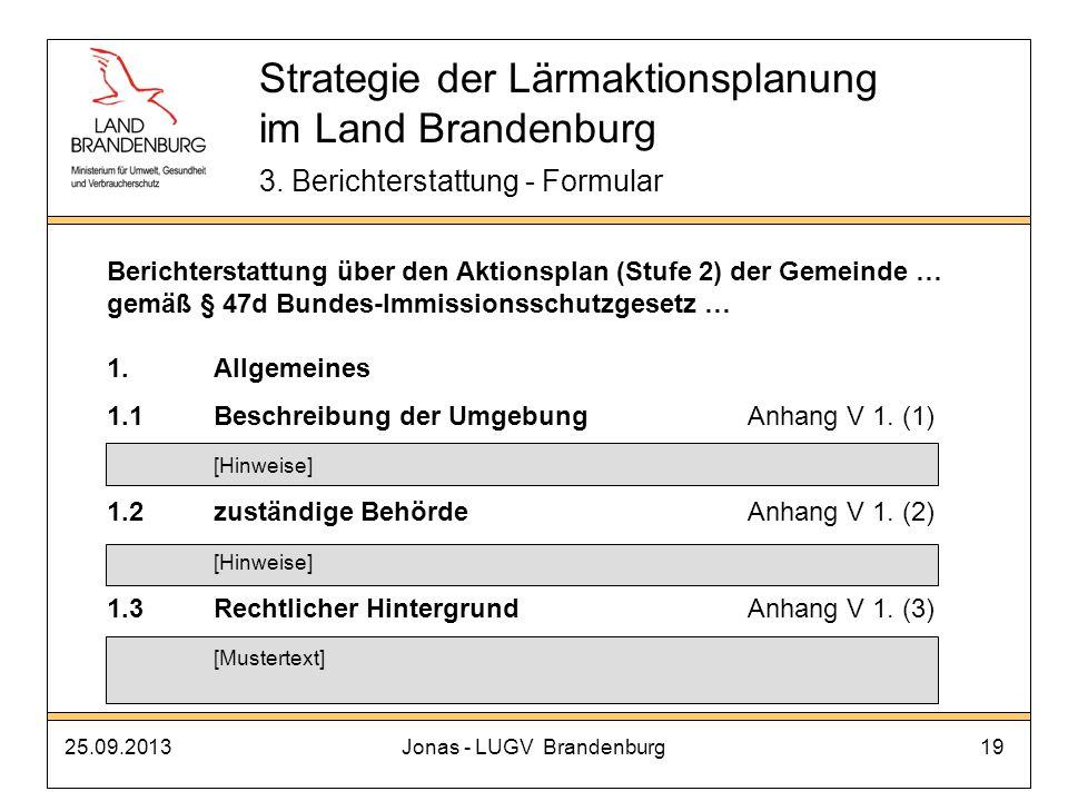 25.09.2013Jonas - LUGV Brandenburg19 Strategie der Lärmaktionsplanung im Land Brandenburg 3. Berichterstattung - Formular Berichterstattung über den A