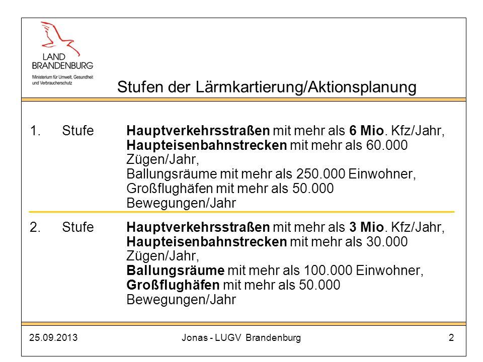 25.09.2013Jonas - LUGV Brandenburg23 Unterstützung/Forderungen durch das MUGV Absenkung der Grenzwerte für die Lärmsanierung an Bundesfernstraßen um 3 dB (Umsetzung erfolgt) weitere Absenkung um 2 dB ab 2012 (Bundesratsantrag 834/09 Rheinland-Pfalz) Finanzierungskonzept für Lärmsanierungsmaßnahmen an Straßen in kommunaler Baulast (Beschluss UMK) harmonisierter Rahmen für die Kartierungsmethoden (Länderstellungnahme Fortschrittsbericht zu RL 2002/49/EG) Strategie der Lärmaktionsplanung im Land Brandenburg 3.