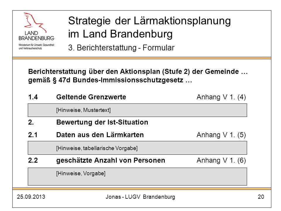 25.09.2013Jonas - LUGV Brandenburg20 Strategie der Lärmaktionsplanung im Land Brandenburg 3. Berichterstattung - Formular Berichterstattung über den A