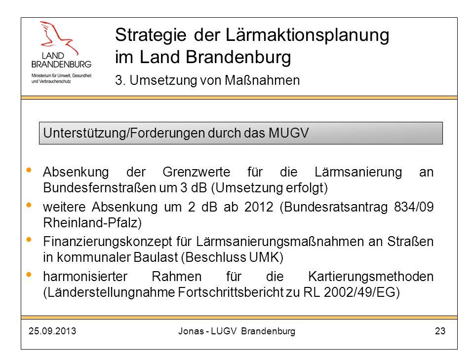 25.09.2013Jonas - LUGV Brandenburg23 Unterstützung/Forderungen durch das MUGV Absenkung der Grenzwerte für die Lärmsanierung an Bundesfernstraßen um 3
