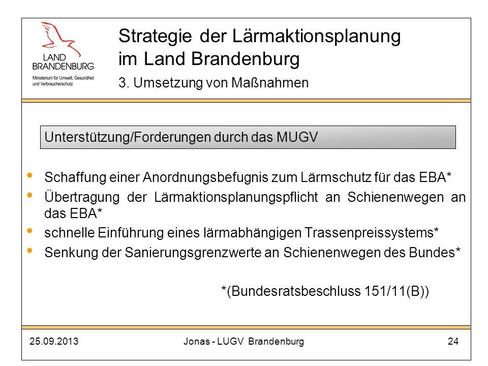 25.09.2013Jonas - LUGV Brandenburg24 Unterstützung/Forderungen durch das MUGV Schaffung einer Anordnungsbefugnis zum Lärmschutz für das EBA* Übertragu