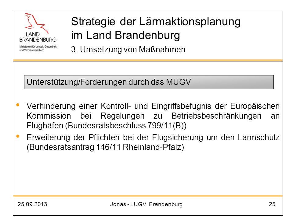 25.09.2013Jonas - LUGV Brandenburg25 Unterstützung/Forderungen durch das MUGV Verhinderung einer Kontroll- und Eingriffsbefugnis der Europäischen Komm