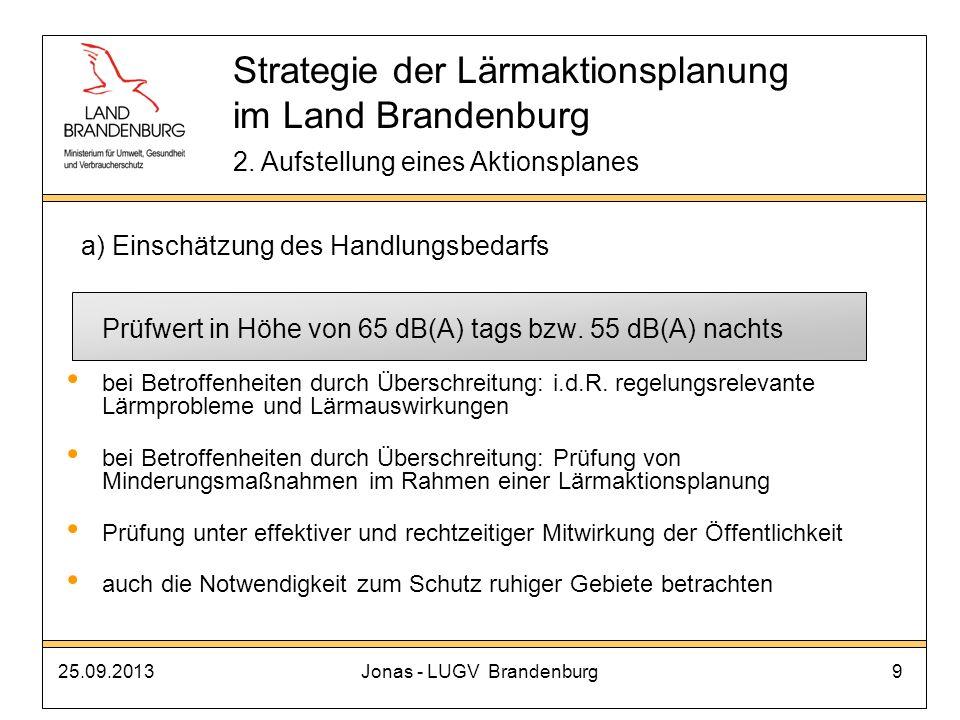 25.09.2013Jonas - LUGV Brandenburg9 Prüfwert in Höhe von 65 dB(A) tags bzw. 55 dB(A) nachts bei Betroffenheiten durch Überschreitung: i.d.R. regelungs