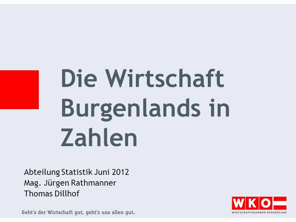 Abteilung Statistik Juni 2012 Mag. Jürgen Rathmanner Thomas Dillhof Die Wirtschaft Burgenlands in Zahlen