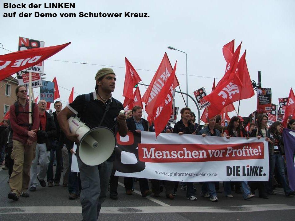 Block der LINKEN auf der Demo vom Schutower Kreuz.