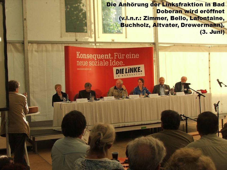 Die Anhörung der Linksfraktion in Bad Doberan wird eröffnet (v.l.n.r.: Zimmer, Bello, Lafontaine, Buchholz, Altvater, Drewermann). (3. Juni)