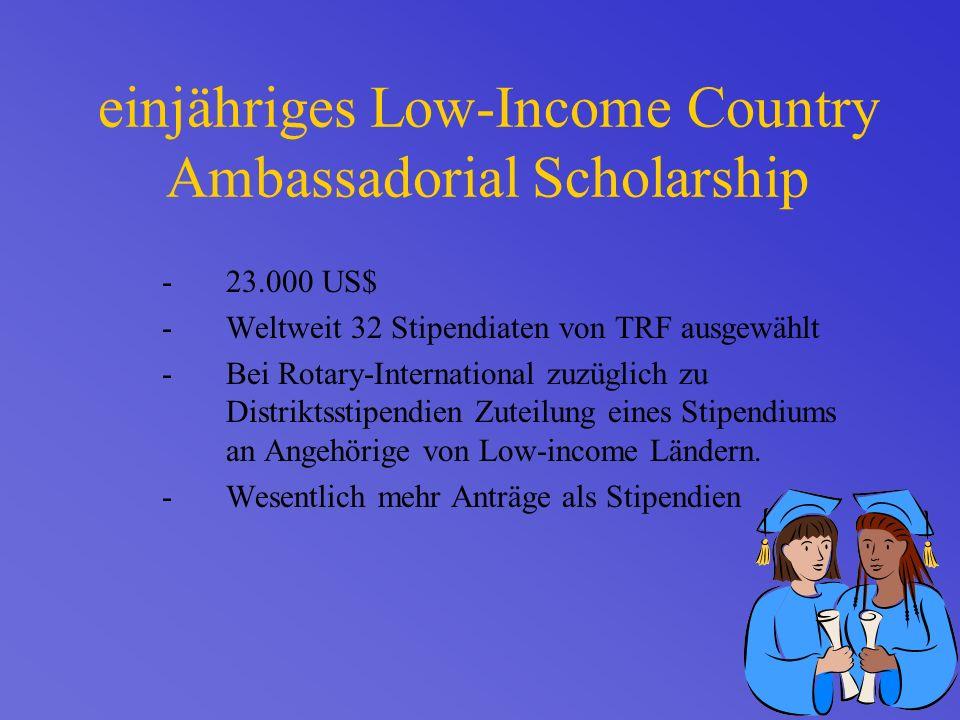 einjähriges Low-Income Country Ambassadorial Scholarship -23.000 US$ -Weltweit 32 Stipendiaten von TRF ausgewählt -Bei Rotary-International zuzüglich zu Distriktsstipendien Zuteilung eines Stipendiums an Angehörige von Low-income Ländern.