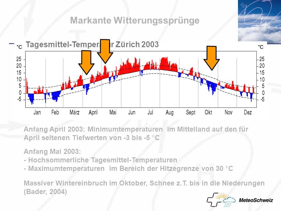 Markante Witterungssprünge Anfang April 2003: Minimumtemperaturen im Mittelland auf den für April seltenen Tiefwerten von -3 bis -5 °C Anfang Mai 2003: - Hochsommerliche Tagesmittel-Temperaturen - Maximumtemperaturen im Bereich der Hitzegrenze von 30 °C Massiver Wintereinbruch im Oktober, Schnee z.T.