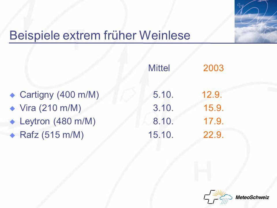 Beispiele extrem früher Weinlese Mittel 2003 Cartigny (400 m/M) 5.10.