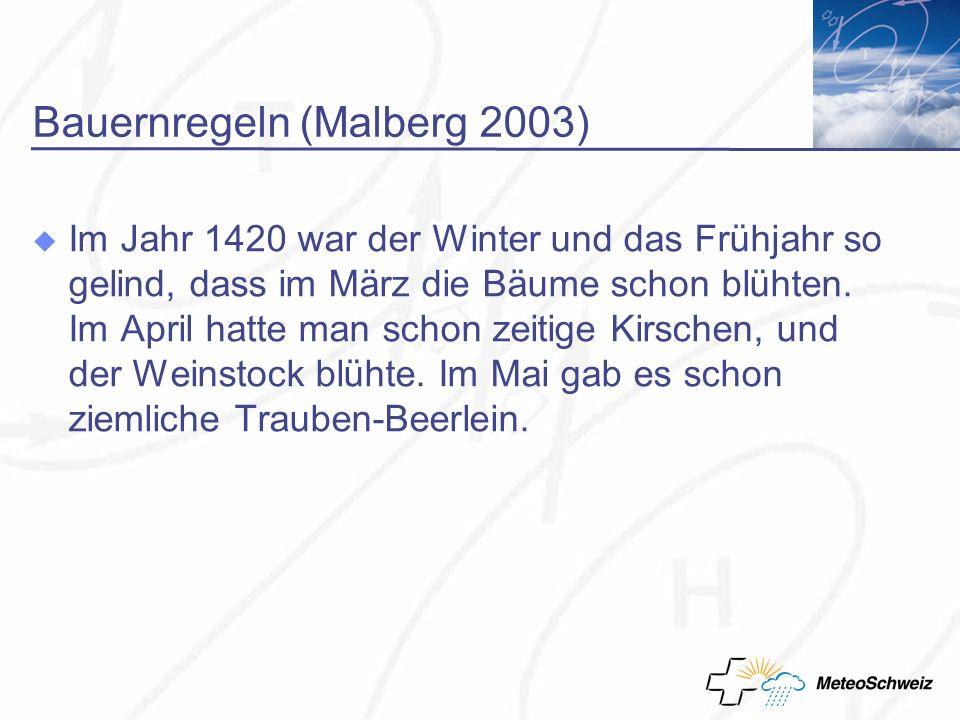 Bauernregeln (Malberg 2003) Im Jahr 1420 war der Winter und das Frühjahr so gelind, dass im März die Bäume schon blühten.