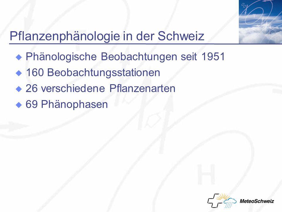Pflanzenphänologie in der Schweiz Phänologische Beobachtungen seit 1951 160 Beobachtungsstationen 26 verschiedene Pflanzenarten 69 Phänophasen