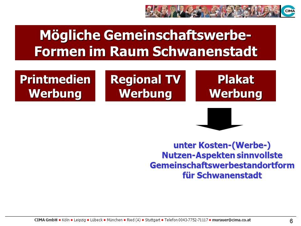 CIMA GmbH Köln Leipzig Lübeck München Ried (A) Stuttgart Telefon 0043-7752-71117 murauer@cima.co.at 6 PrintmedienWerbung Regional TV Werbung Mögliche Gemeinschaftswerbe- Formen im Raum Schwanenstadt PlakatWerbung unter Kosten-(Werbe-) Nutzen-Aspekten sinnvollste Gemeinschaftswerbestandortform für Schwanenstadt