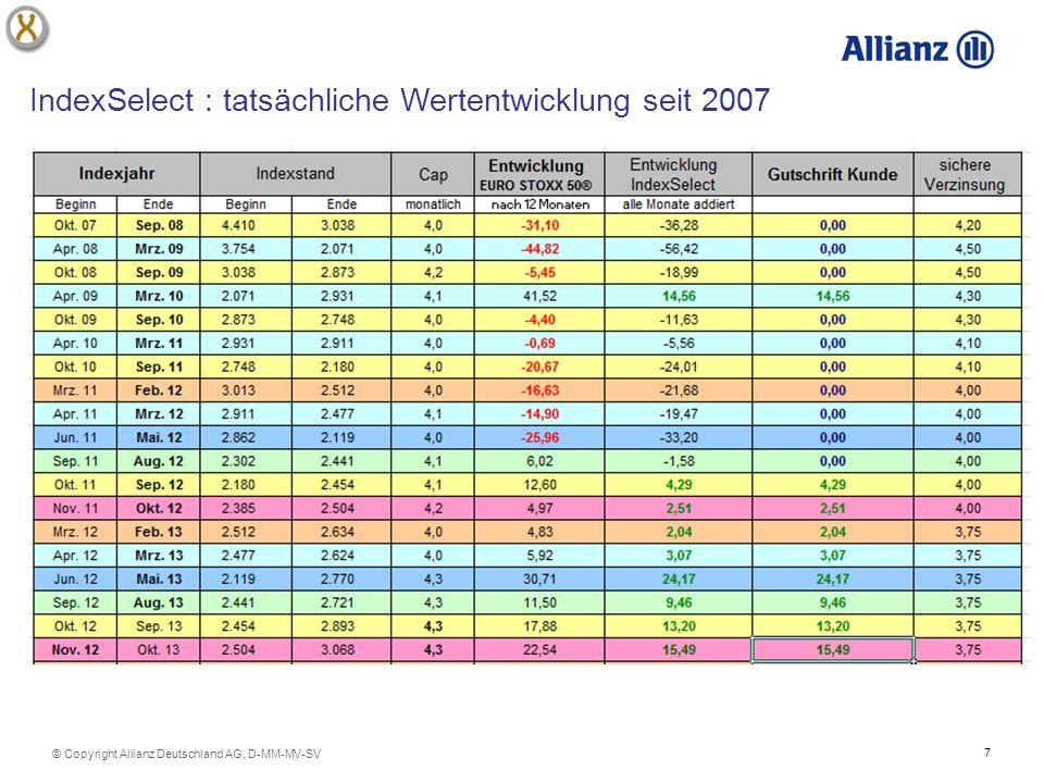 7 © Copyright Allianz Deutschland AG, D-MM-MV-SV IndexSelect : tatsächliche Wertentwicklung seit 2007