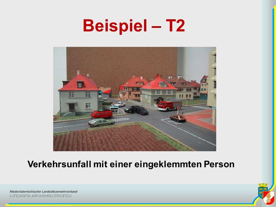 Beispiel – T2 Verkehrsunfall mit einer eingeklemmten Person