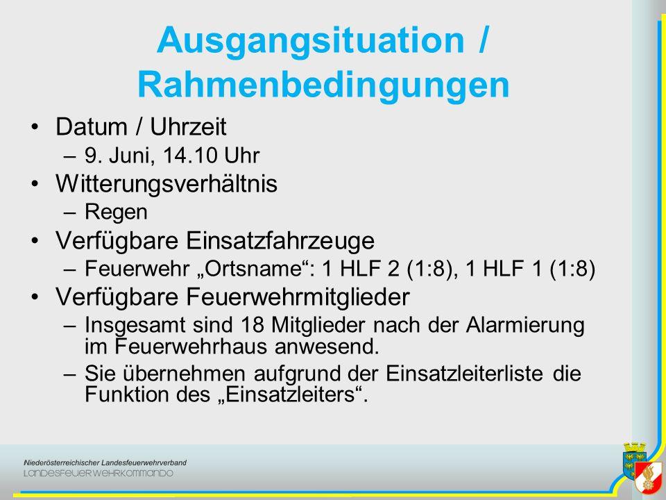Ausgangsituation / Rahmenbedingungen Datum / Uhrzeit –9.