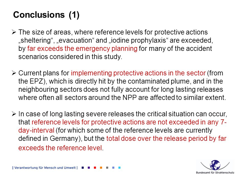 Conclusions (1) The size of areas, where reference levels for protective actions sheltering, evacuation and iodine prophylaxis are exceeded, by far exceeds the emergency planning for many of the accident scenarios considered in this study.