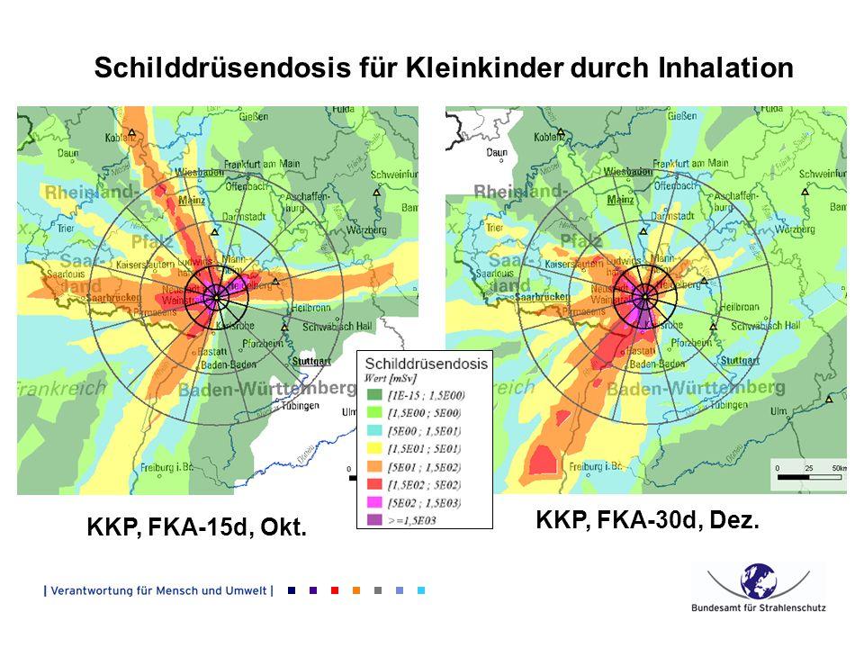 KKP, FKA-15d, Okt. KKP, FKA-30d, Dez. Schilddrüsendosis für Kleinkinder durch Inhalation