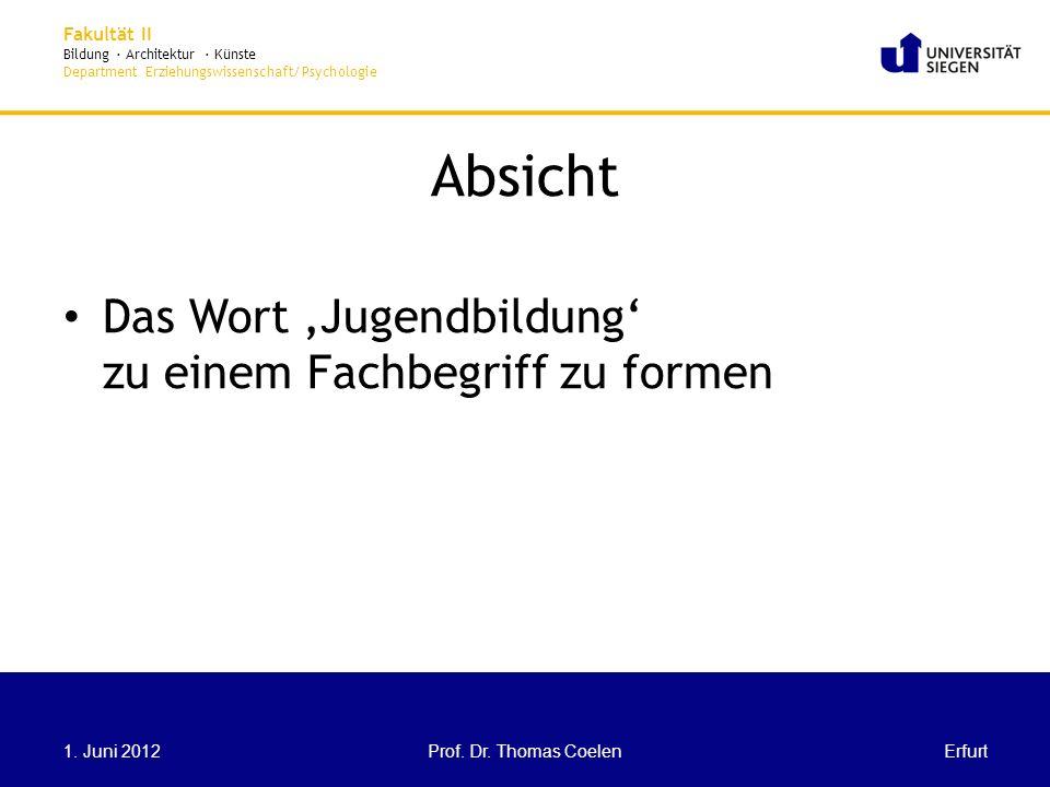 Fakultät II Bildung · Architektur · Künste Department Erziehungswissenschaft/Psychologie Absicht Das Wort Jugendbildung zu einem Fachbegriff zu formen ErfurtProf.