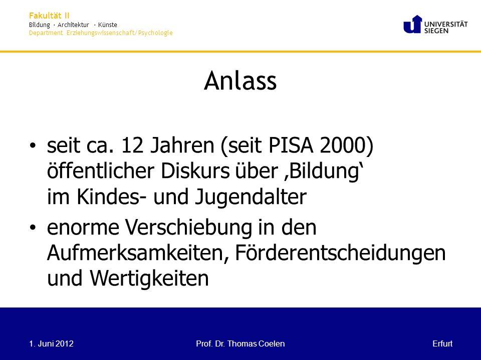 Fakultät II Bildung · Architektur · Künste Department Erziehungswissenschaft/Psychologie Anlass seit ca.