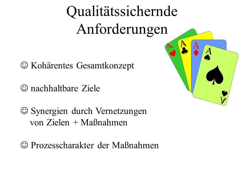 Qualitätssichernde Anforderungen Kohärentes Gesamtkonzept nachhaltbare Ziele Synergien durch Vernetzungen von Zielen + Maßnahmen Prozesscharakter der Maßnahmen