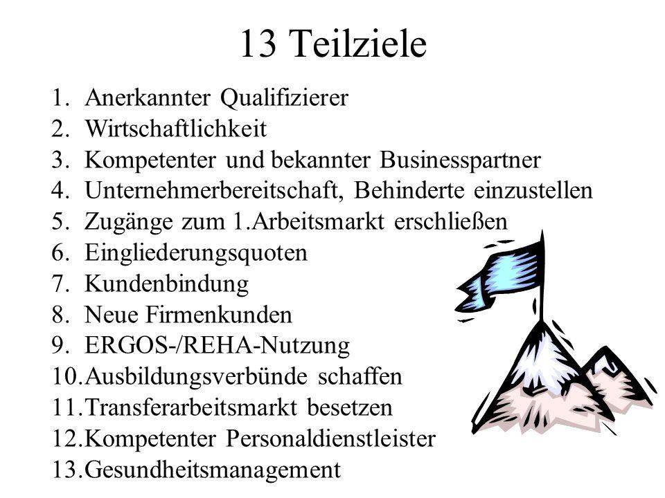 13 Teilziele 1.Anerkannter Qualifizierer 2.Wirtschaftlichkeit 3.Kompetenter und bekannter Businesspartner 4.Unternehmerbereitschaft, Behinderte einzustellen 5.Zugänge zum 1.Arbeitsmarkt erschließen 6.Eingliederungsquoten 7.Kundenbindung 8.Neue Firmenkunden 9.ERGOS-/REHA-Nutzung 10.Ausbildungsverbünde schaffen 11.Transferarbeitsmarkt besetzen 12.Kompetenter Personaldienstleister 13.Gesundheitsmanagement