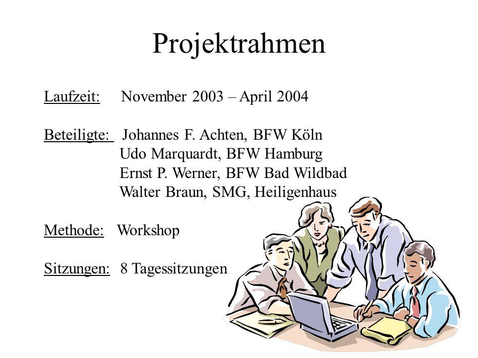 Projektrahmen Laufzeit: November 2003 – April 2004 Beteiligte: Johannes F.