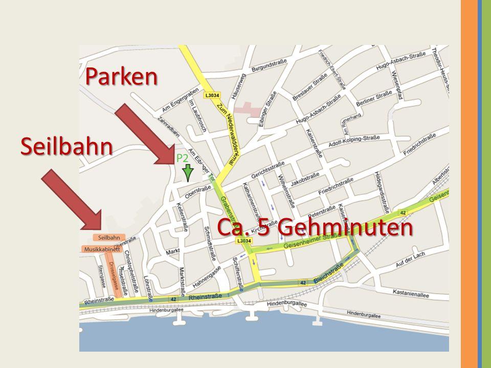 Seilbahn Mit der Seilbahn fahren wir ca.10 – 15 Minuten hoch zur Germania.