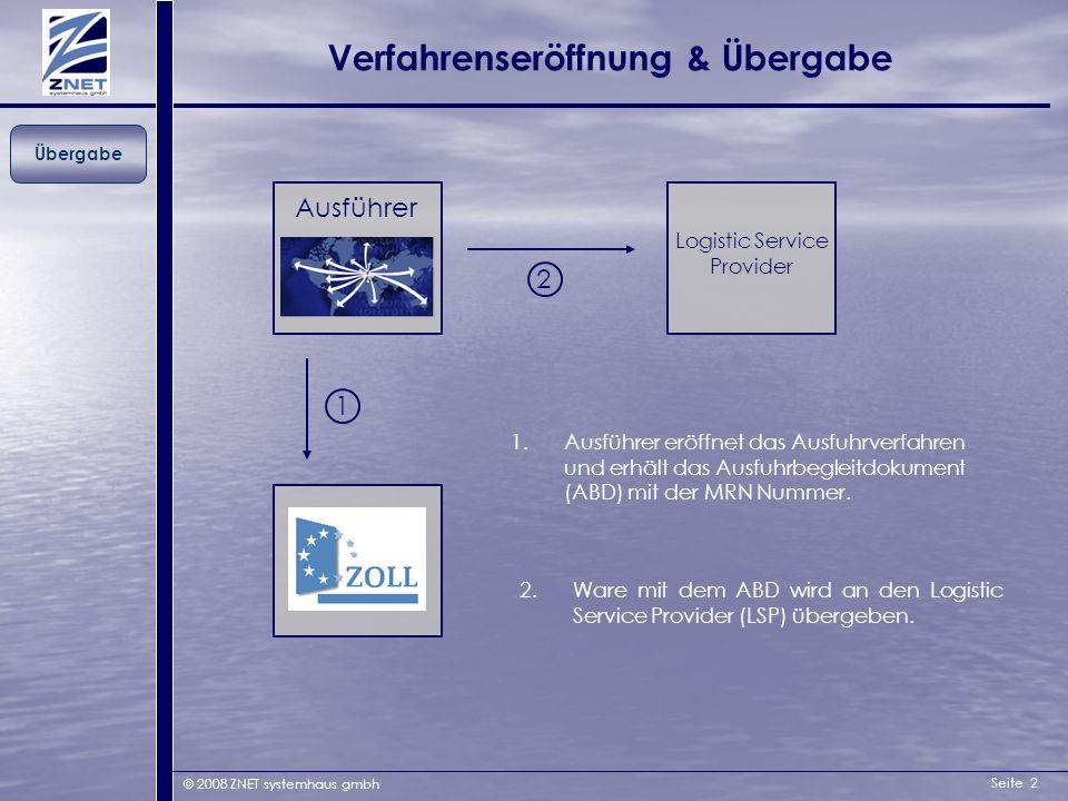 Seite 2 © 2008 ZNET systemhaus gmbh Verfahrenseröffnung & Übergabe Übergabe Logistic Service Provider Ausführer 1 1.Ausführer eröffnet das Ausfuhrverf