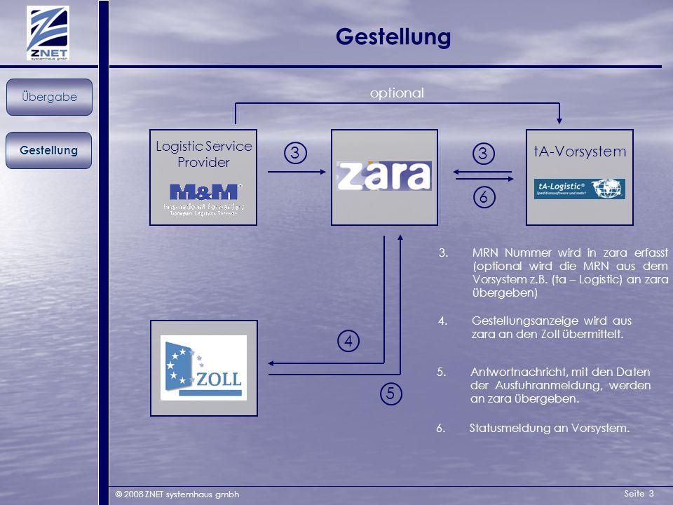 Seite 3 © 2008 ZNET systemhaus gmbh Gestellung Übergabe Logistic Service Provider 3 4 3 3.MRN Nummer wird in zara erfasst (optional wird die MRN aus d