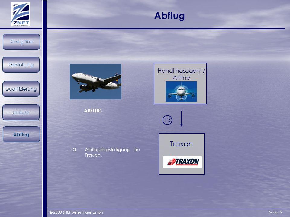 Seite 6 © 2008 ZNET systemhaus gmbh Abflug ABFLUG Gestellung Übergabe Qualifizierung Umfuhr Abflug Handlingsagent / Airline Traxon 13 13.Abflugsbestät