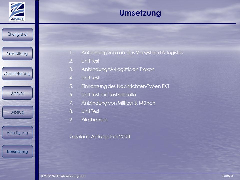 Seite 8 © 2008 ZNET systemhaus gmbh Umsetzung Gestellung Übergabe Qualifizierung Umfuhr Erledigung Abflug Umsetzung 1.Anbindung zara an das Vorsystem