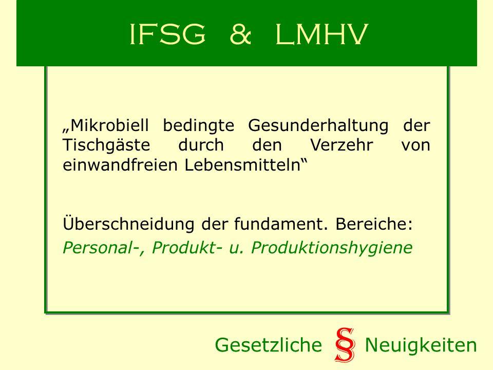 Gesetzliche Neuigkeiten § IFSG & LMHV Mikrobiell bedingte Gesunderhaltung der Tischgäste durch den Verzehr von einwandfreien Lebensmitteln Überschneidung der fundament.