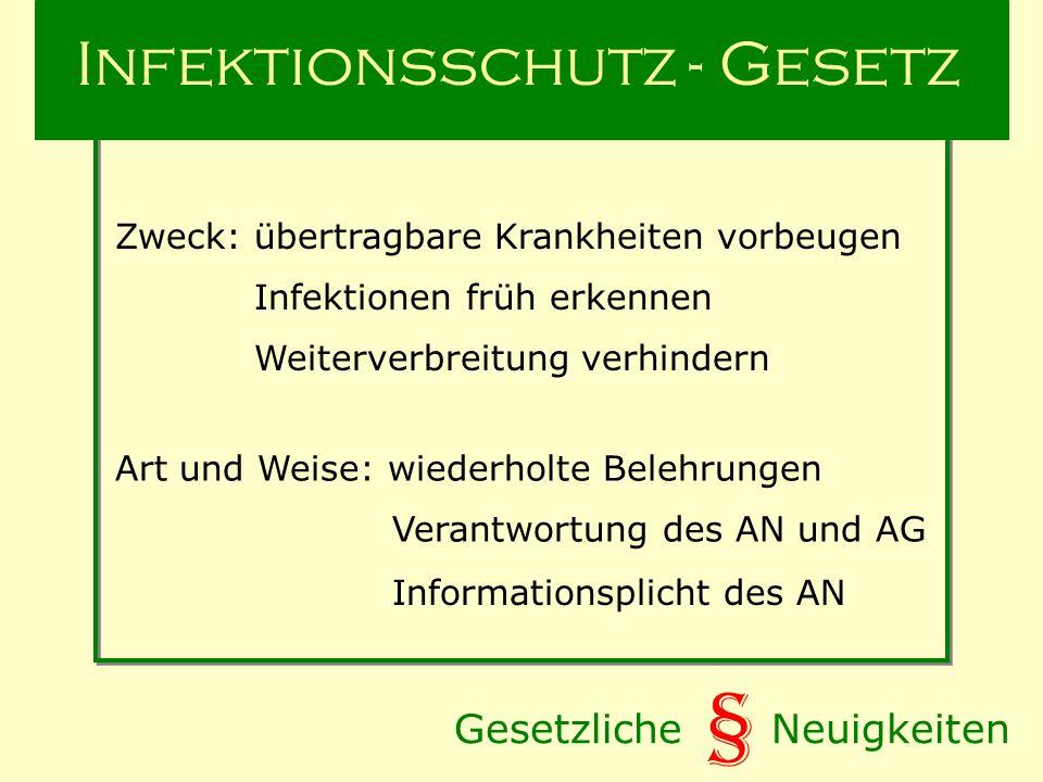 Gesetzliche Neuigkeiten § Infektionsschutz - Gesetz Zweck: übertragbare Krankheiten vorbeugen Art und Weise: wiederholte Belehrungen Verantwortung des AN und AG Informationsplicht des AN Infektionen früh erkennen Weiterverbreitung verhindern