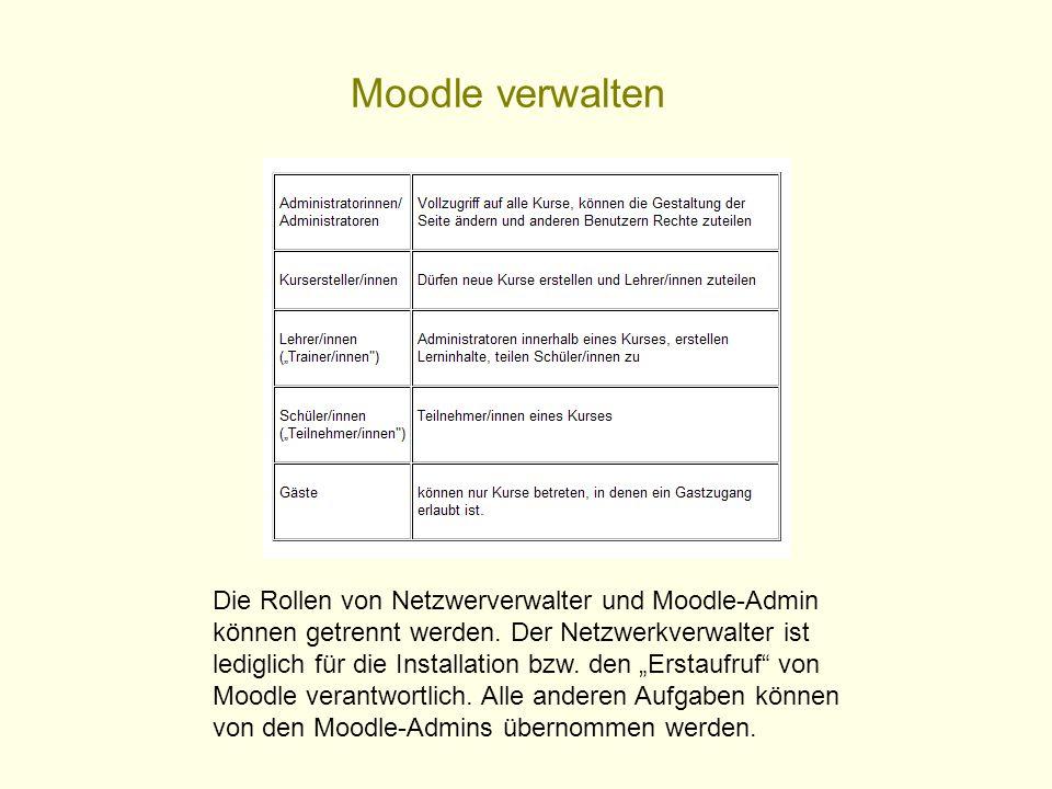Moodle verwalten Die Rollen von Netzwerverwalter und Moodle-Admin können getrennt werden. Der Netzwerkverwalter ist lediglich für die Installation bzw
