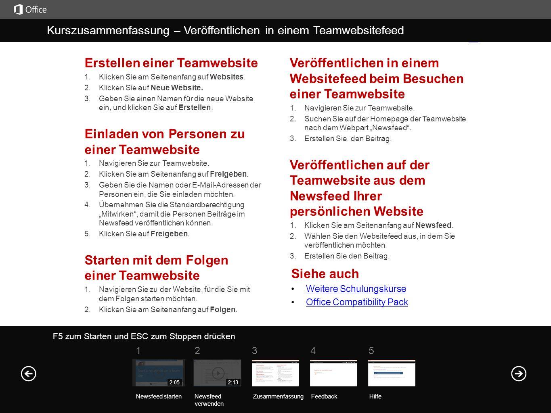Erstellen einer Teamwebsite 1. Klicken Sie am Seitenanfang auf Websites.