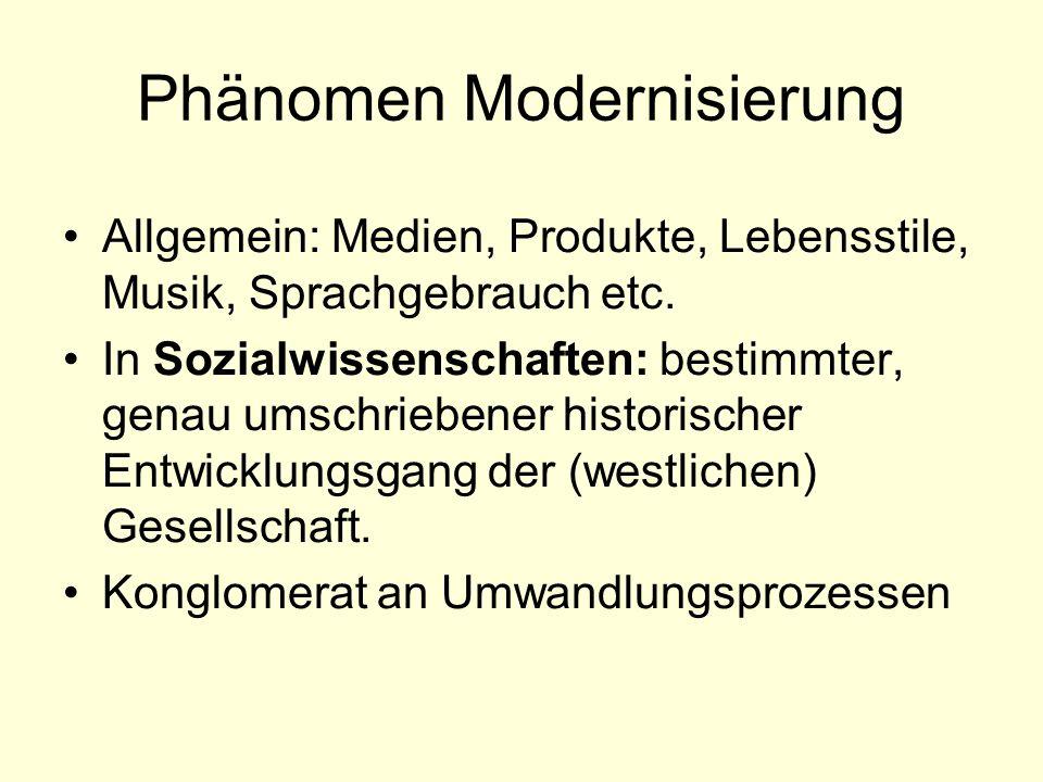 Phänomen Modernisierung Allgemein: Medien, Produkte, Lebensstile, Musik, Sprachgebrauch etc.