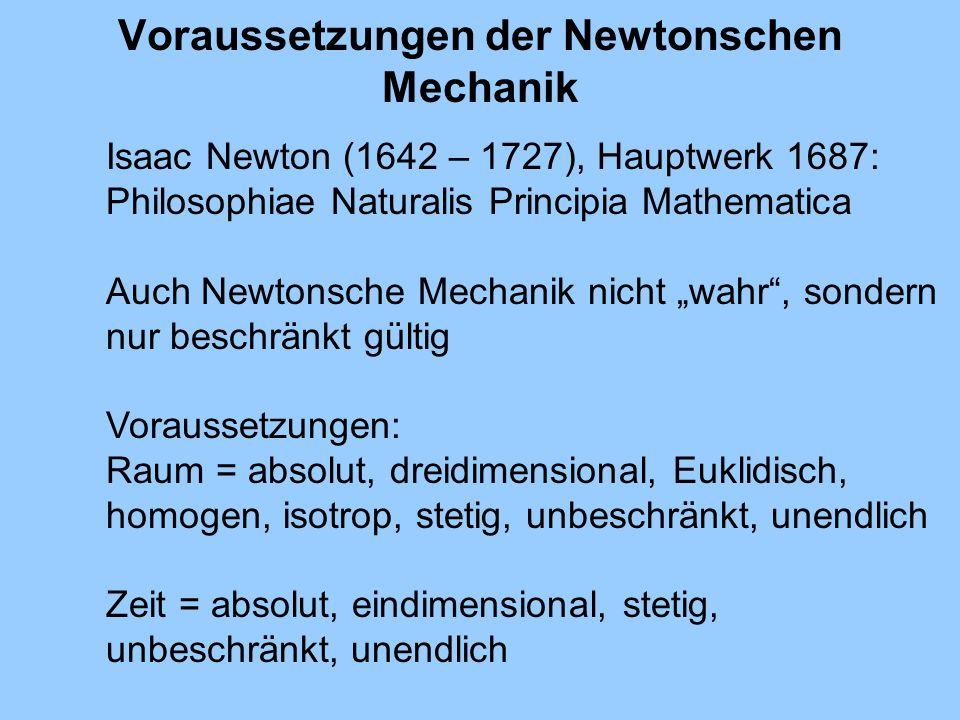 Voraussetzungen der Newtonschen Mechanik Isaac Newton (1642 – 1727), Hauptwerk 1687: Philosophiae Naturalis Principia Mathematica Auch Newtonsche Mech