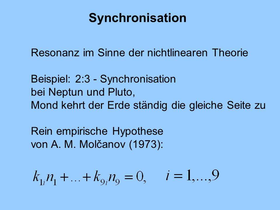 Synchronisation Resonanz im Sinne der nichtlinearen Theorie Beispiel: 2:3 - Synchronisation bei Neptun und Pluto, Mond kehrt der Erde ständig die glei