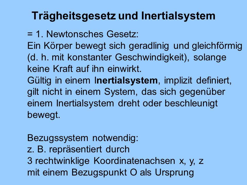 Trägheitsgesetz und Inertialsystem = 1. Newtonsches Gesetz: Ein Körper bewegt sich geradlinig und gleichförmig (d. h. mit konstanter Geschwindigkeit),