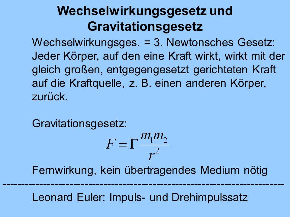 Wechselwirkungsgesetz und Gravitationsgesetz Wechselwirkungsges. = 3. Newtonsches Gesetz: Jeder Körper, auf den eine Kraft wirkt, wirkt mit der gleich