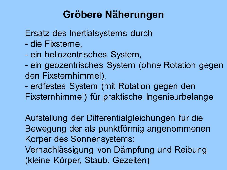 Gröbere Näherungen Ersatz des Inertialsystems durch - die Fixsterne, - ein heliozentrisches System, - ein geozentrisches System (ohne Rotation gegen d
