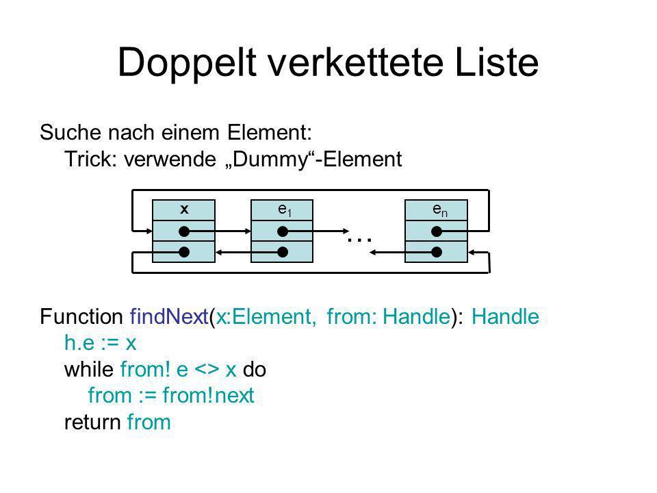 Doppelt verkettete Liste Suche nach einem Element: Trick: verwende Dummy-Element Function findNext(x:Element, from: Handle): Handle h.e := x while from.